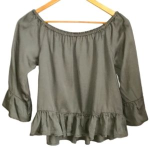 3/30$ ONLY Khaki Green Cropped Ruffled Lyocell Top